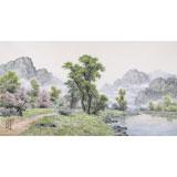 【已售】朝鲜名家蔡京华 四尺《春日的小溪》