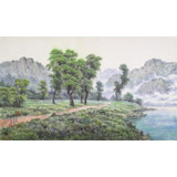 朝鲜画家蔡京华 四尺《野外的早晨》