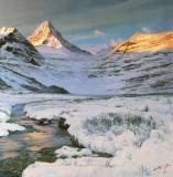 【已售】朝鲜功勋画家 尹洪哲油画《霞光映雪》