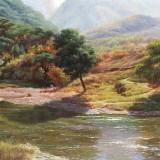 【已售】朝鲜一级画家 金京日《春溪》 布面油画