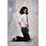 著名青年油画家朱艺林 布面油画 《青春少女》(询价)