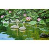 朝鲜人民艺术家 李相文《荷塘鹅趣》 布面油画