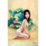 【已售】著名青年油画家朱艺林 布面油画 《荷塘佳人》(询价)