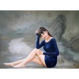 著名青年油画家朱艺林 布面油画 《江山美人》
