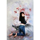 著名青年油画家朱艺林 布面油画 《花季少女》(询价)