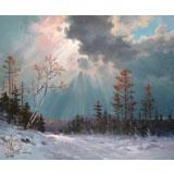 【已售】朝鲜名家 白鹤松 《雪中小路》精品油画
