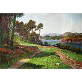 朝鲜名家油画 万在日 《山坡菜地》