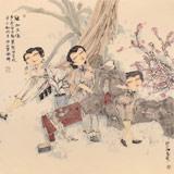 【已售】著名青年画家李翔峰 四尺斗方《观桃花图》