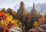 【已售】朝鲜名家油画 李春植 《金刚山之秋》
