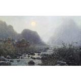 【已售】朝鲜名家油画 《寂静的月夜》