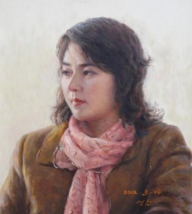 【已售】朝鲜名家油画 金永灿 《妇人》