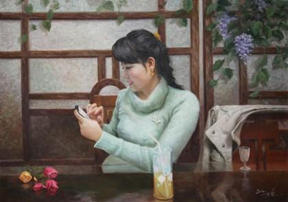【已售】朝鲜名家油画 崔国哲 《恋爱时光》