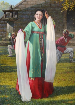 朝鲜名家油画 吕海 《变脸》