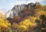 【已售】朝鲜名家油画 郑明 《溪谷秋叶》