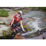 【已售】朝鲜名家油画 罗强哲 《流淌的溪流》