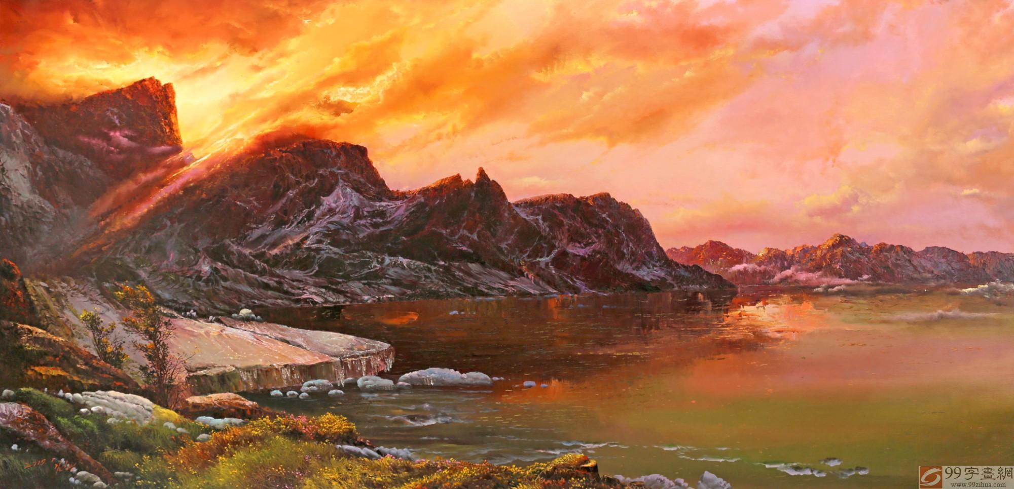 sk【已售】朝鲜人民艺术家 金日男大尺寸油画《霞光里的湖》
