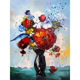 罗振宁 《花系列-红》 布面油画