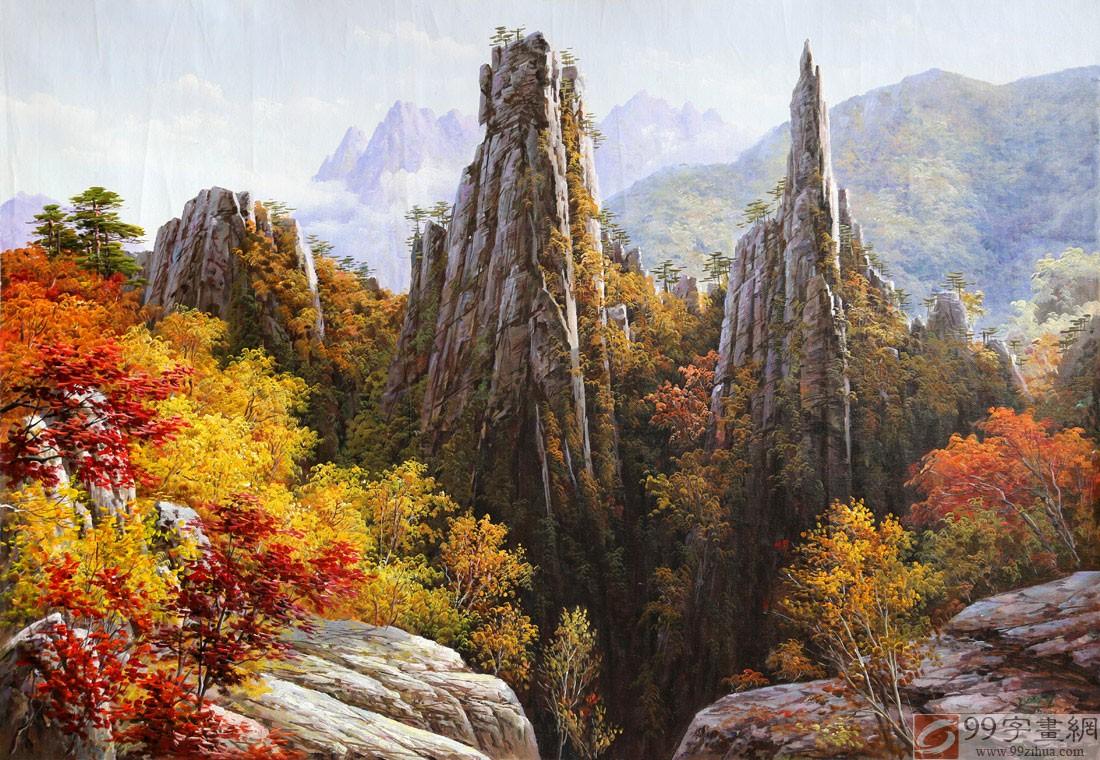 朝鲜名家油画 李春植 金刚山之秋