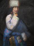 【已售】郭丽岩 《藏族女郎》布面油画