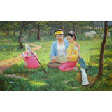 【已售】朝鲜名家油画 朱敏 《难忘的童年》(询价)