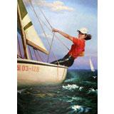 朝鲜名家油画 韩光勋 《扬帆远航》