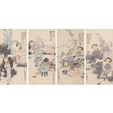 著名青年画家李翔峰 《自观自在四联》询价