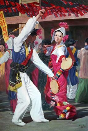 【已售】朝鲜名家油画 崔春红 《节日的欢乐》