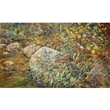 【已售】朝鲜名家油画 朴贤哲 《自然妙境》