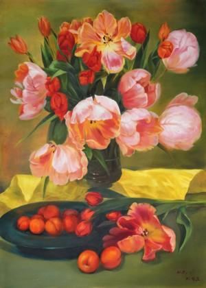 【已售】朝鲜名家油画 李正兆 《花开的季节》
