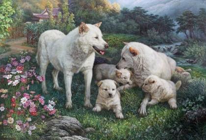 【已售】朝鲜名家油画 韩成哲 《甜蜜一家》