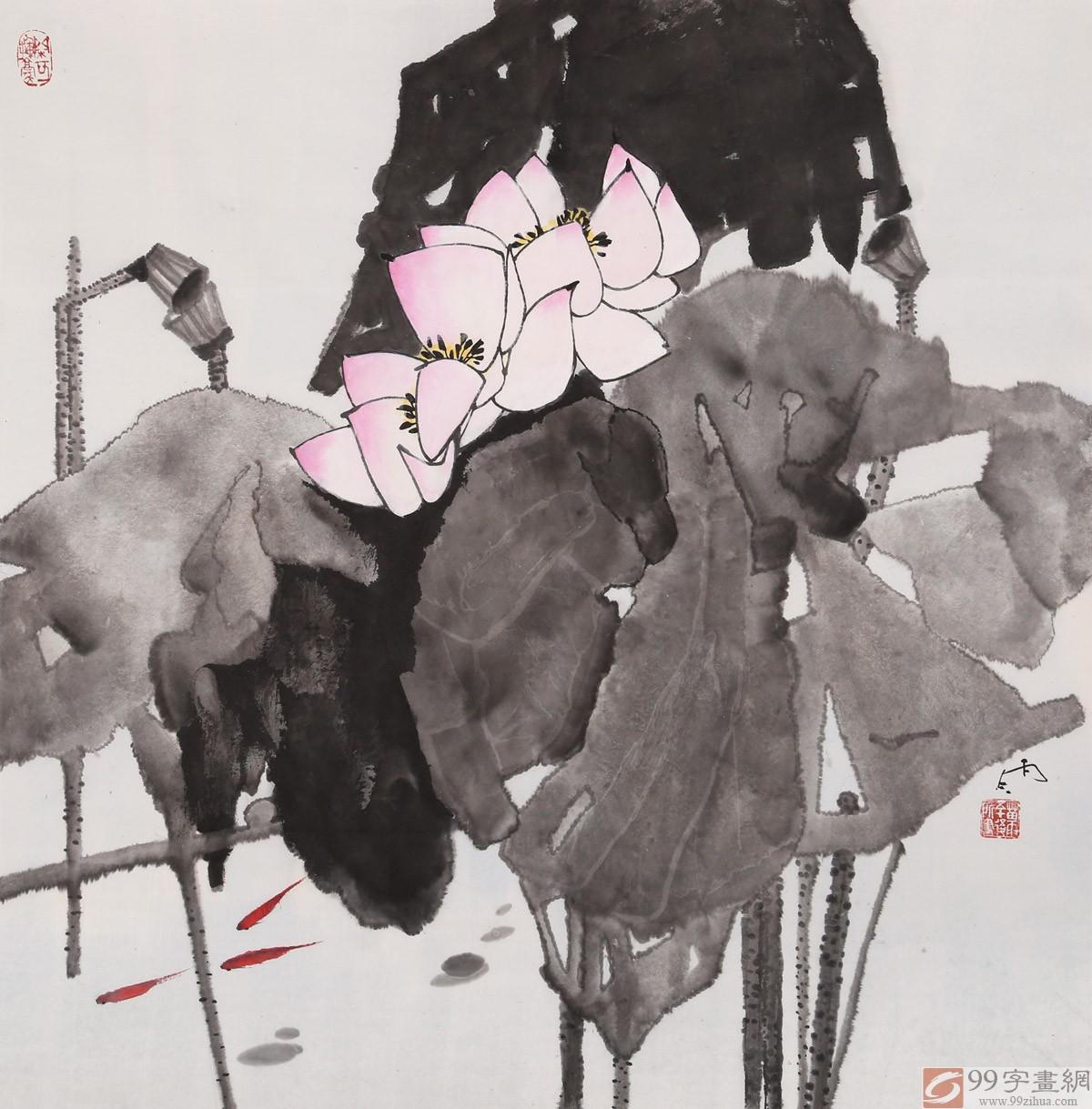 skqa辽宁工美教授苗雨 四尺斗方《荷韵幽香》师从吴冠中