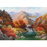 【已售】朝鲜功勋画家 韩成哲 《溪谷秋韵》 布面油画