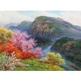 【已售】朝鲜功勋画家 韩成哲 《春满山河》 布面油画