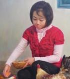 朝鲜名家 郑日革 《农家》 馆藏油画精品