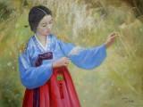 【已售】朝鲜平壤美术大学名家 卞革哲 《相思》 布面油画