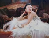 【已售】朝鲜名家金龙男 超写实油画 《甜蜜的梦》 馆藏精品