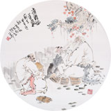 南海禅寺 妙林居士 人物画《讲经论道图》