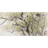 【已售】朝鲜名家油画 朴贤哲 《喜鹊枝头春意闹》