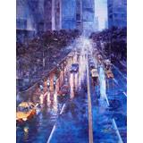 【已售可订】郭莹大尺寸 《上海之夜-雨后》 布面油画