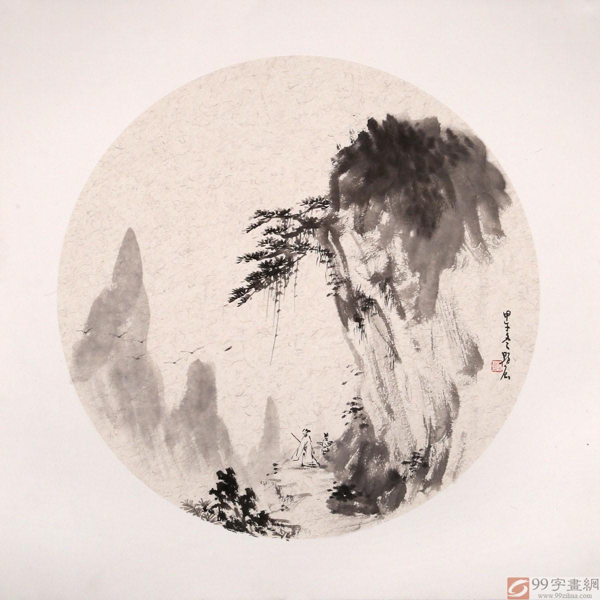 刘显辰 国画山水团扇《携琴访友》 - 写意山水画 - 99