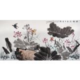 【已售】中国老子书画院副院长 朱祖义四尺《荷塘清气十里香》