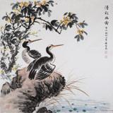 中国老子书画院副院长 朱祖义四尺斗方《清秋幽禽》