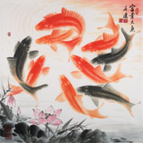 【已售定制询价】中国画院周升达四尺斗方九鱼图《富贵久鱼》