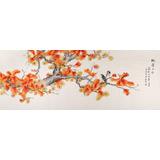 北京美协凌雪小六尺花鸟画《枫叶正红》
