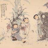 著名青年画家李翔峰 四尺斗方《放风鸢图》(询价)