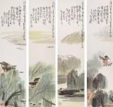 刘纪 精品山水四条屏 河南著名老画家