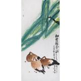 国家一级美术师王永刚 四尺手指画《柳荫栖禽图》(询价)