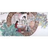 【已售】当代著名写意人物画家魏志平 四尺《红楼梦诗意图》