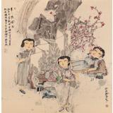 著名青年画家李翔峰 四尺斗方《美人游园图》询价