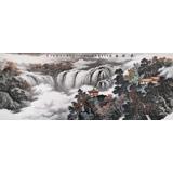 【已售】著名画家蒋元发 小六尺山水《飞瀑图》